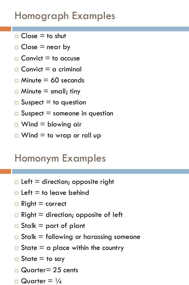 Homograph Examples