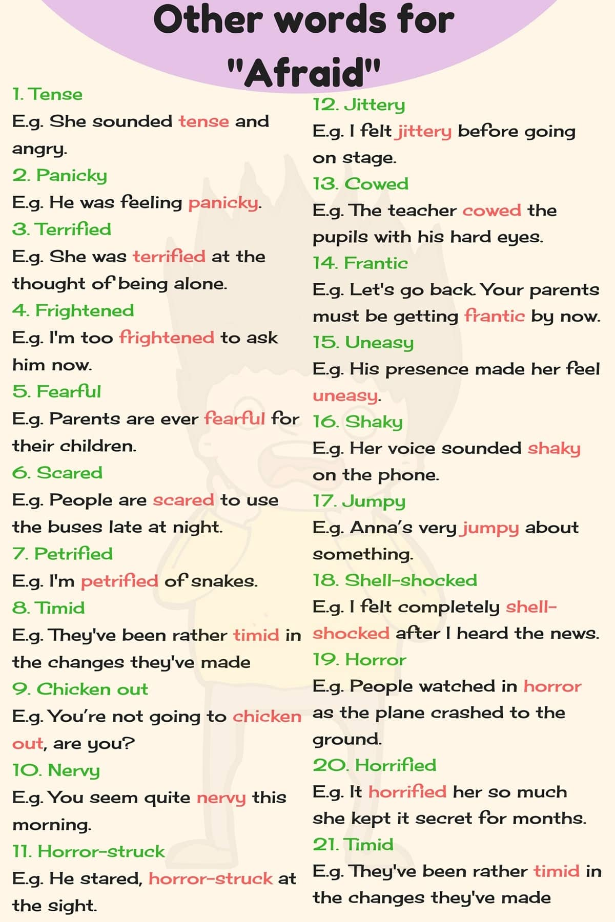 Words for AFRAID in English