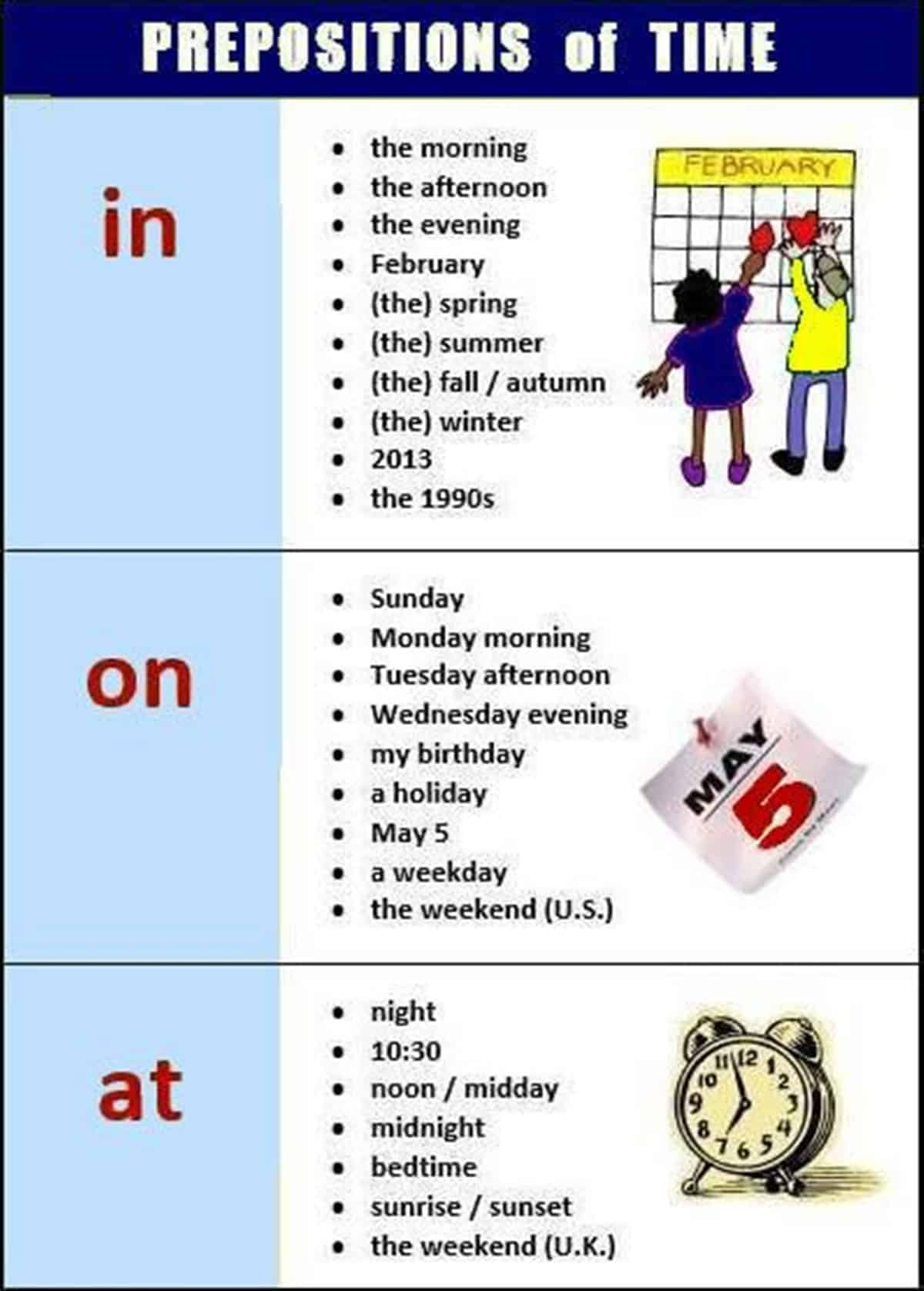 Prepositions of Time - AT / IN / ON