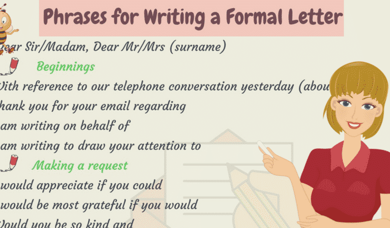Useful Words and Phrases for Writing Formal Letters in English