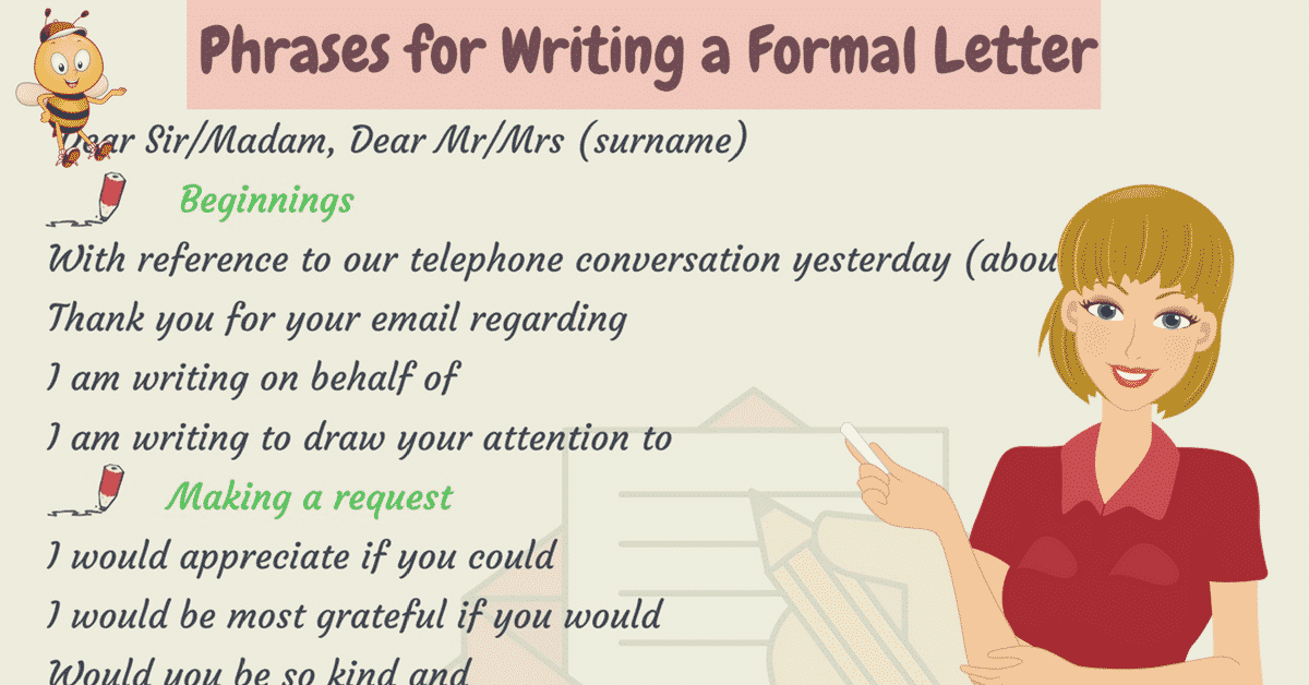 Useful Words and Phrases for Writing Formal Letters in English 6