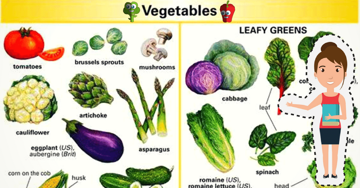 Vegetables Vocabulary in English 6