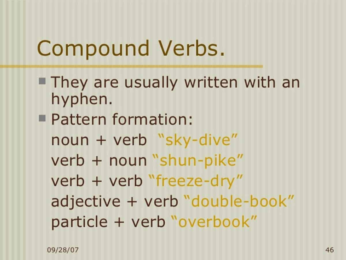 Different Types of Verbs: Compound Verbs