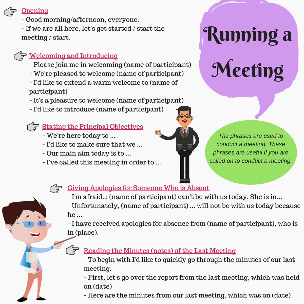 phrases to use during a business meeting