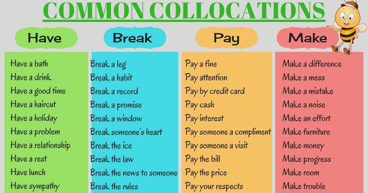 50+ Common Verb Collocations You Should Learn in English 9