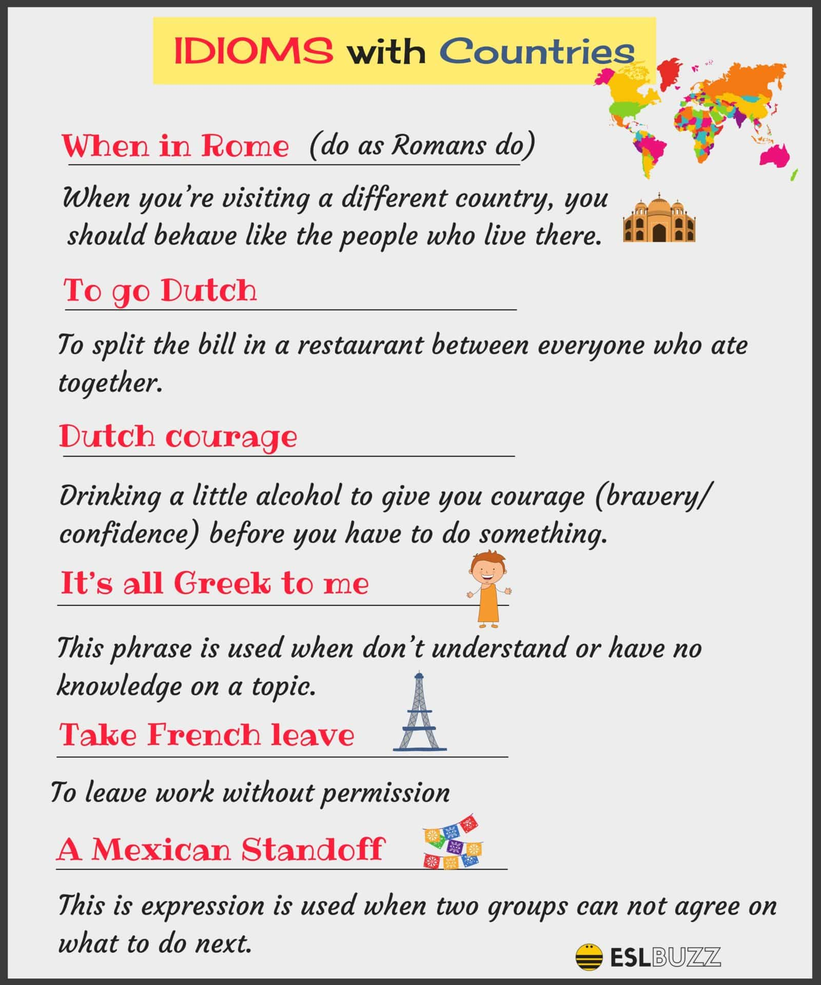 Interesting English Idioms Using Nationalities and Countries