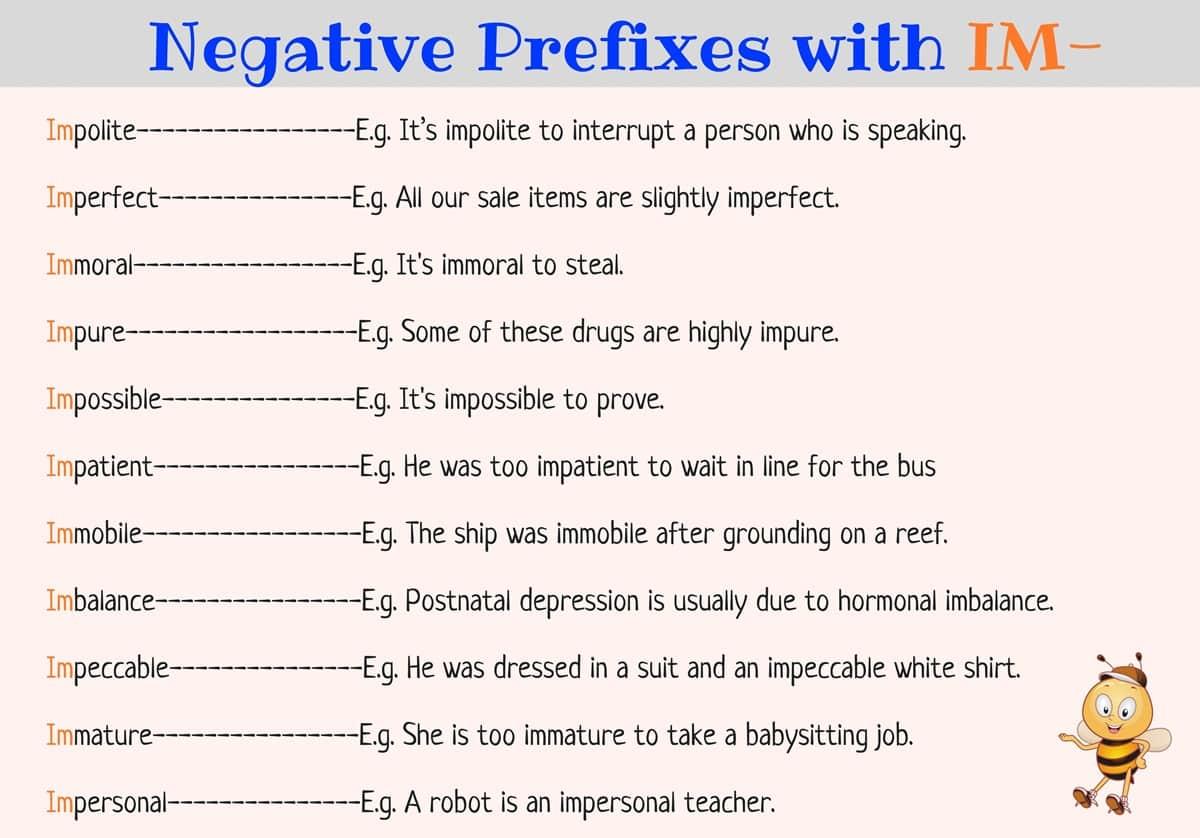 Negative Prefixes: IM-