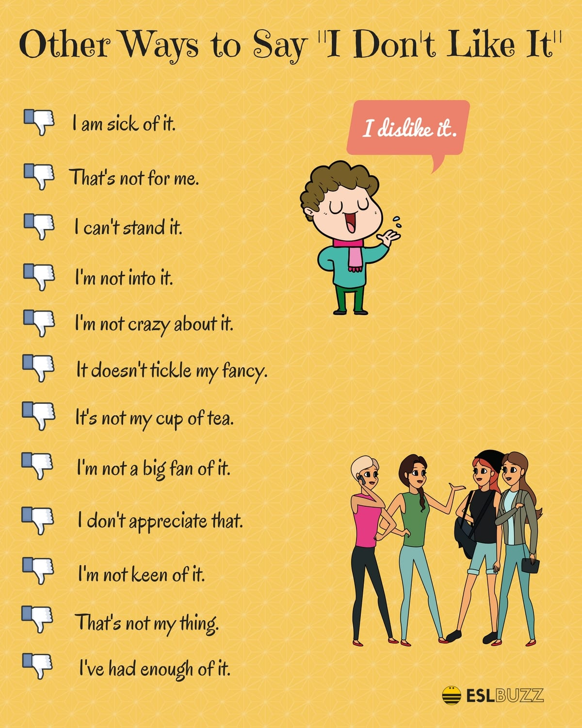 Other Ways to Say I DON'T LIKE IT