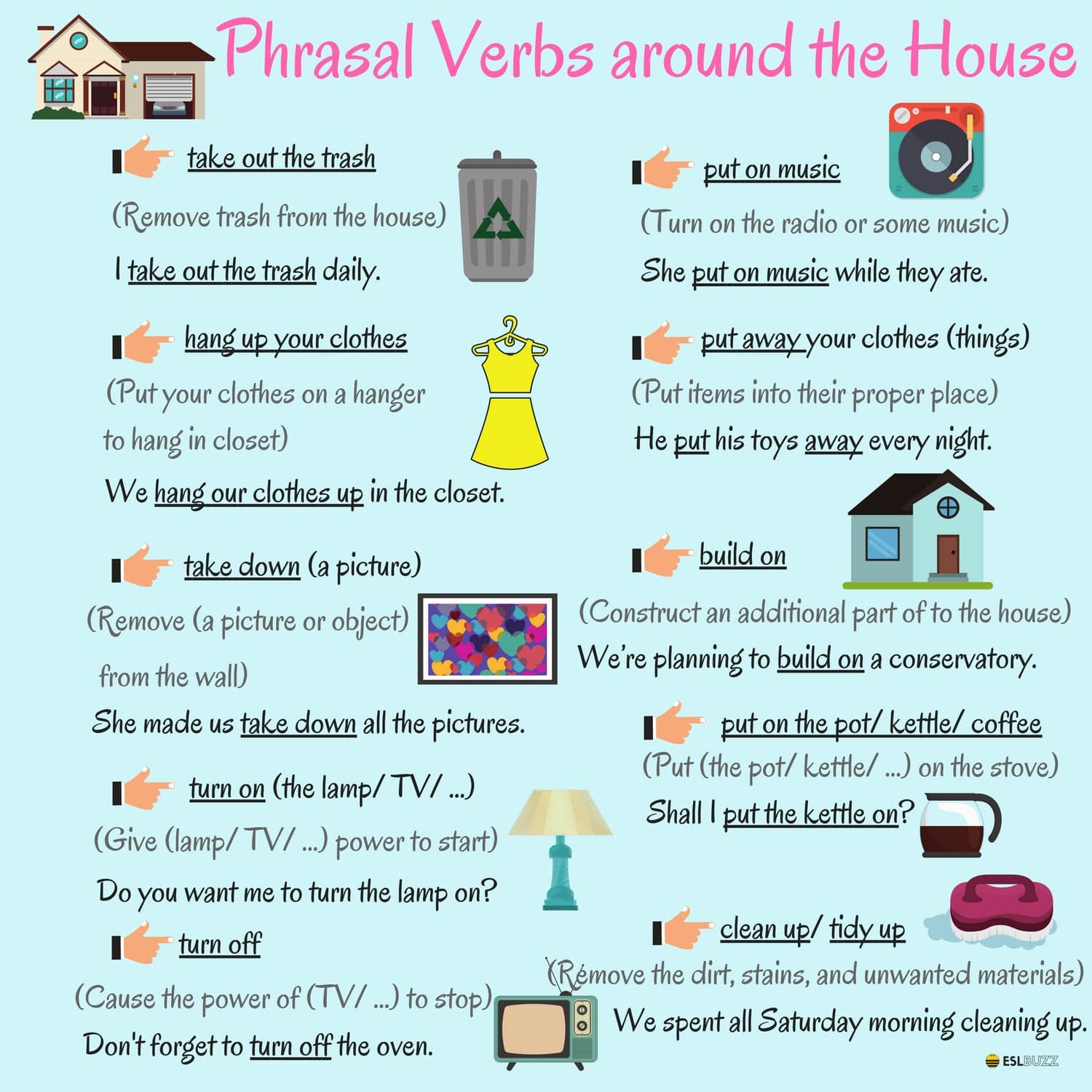 English Phrasal Verbs: Actions around the House - ESLBuzz Learning