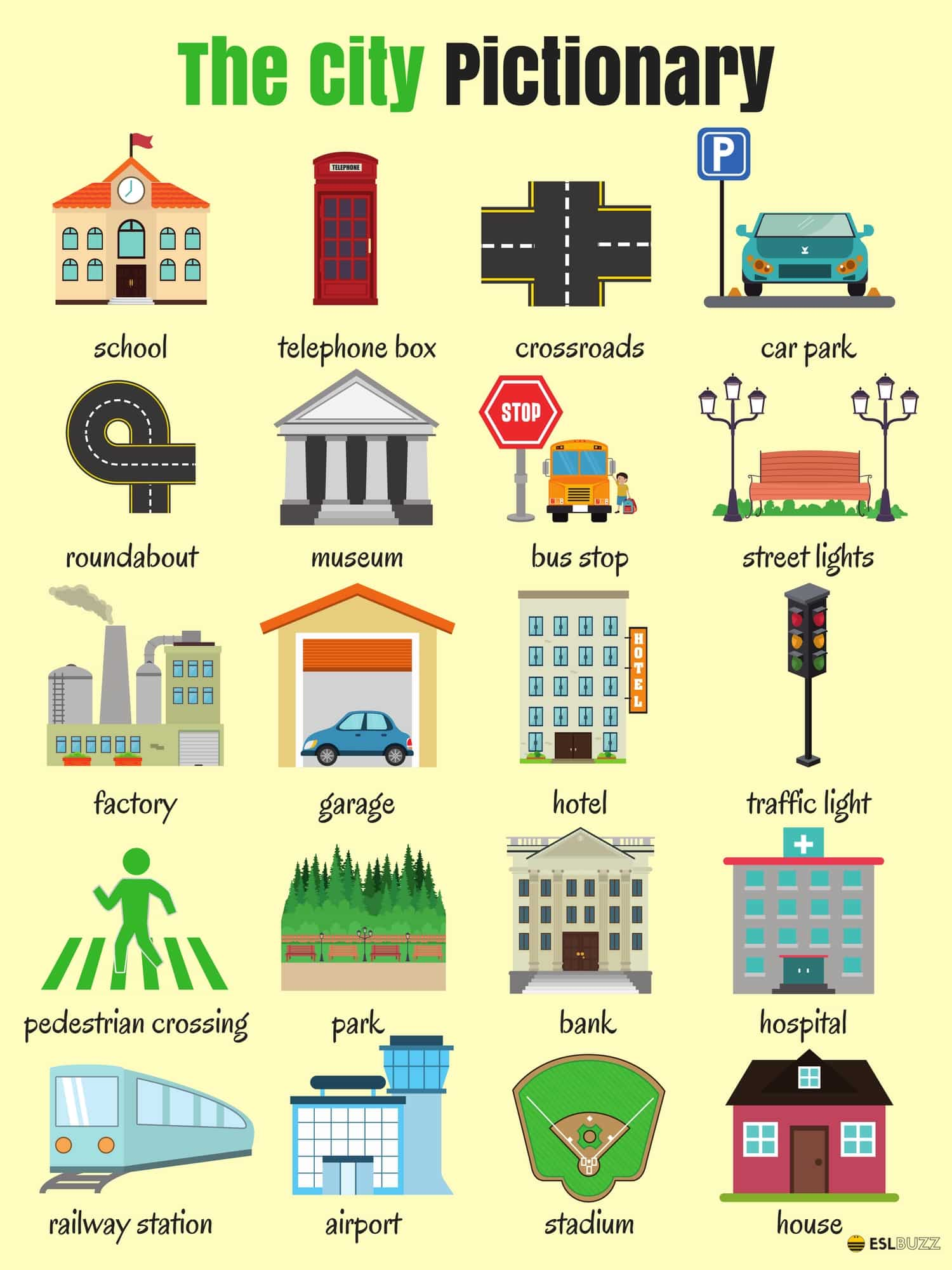 English Vocabulary: Places in the City