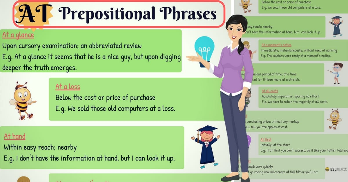 60+ Common Prepositional Phrases with AT in English 8