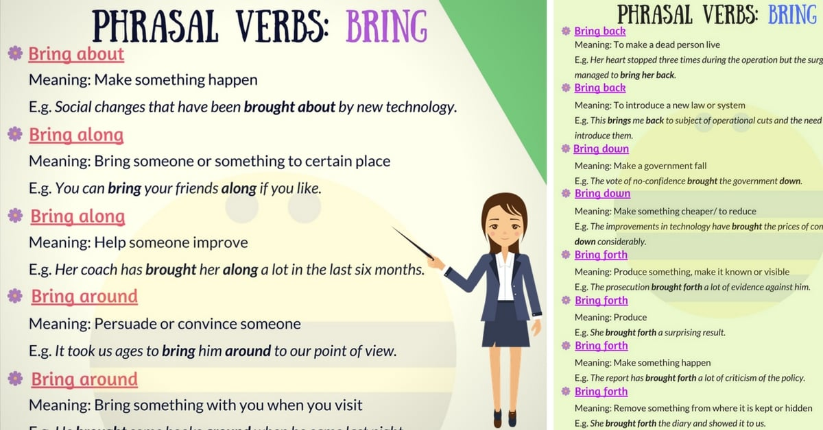 Learn 30+ Common English Phrasal Verbs with BRING 6