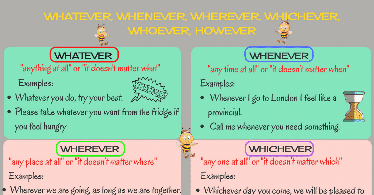 How to Use Whatever, Whoever, Whenever, Wherever, Whichever and However Correctly 3