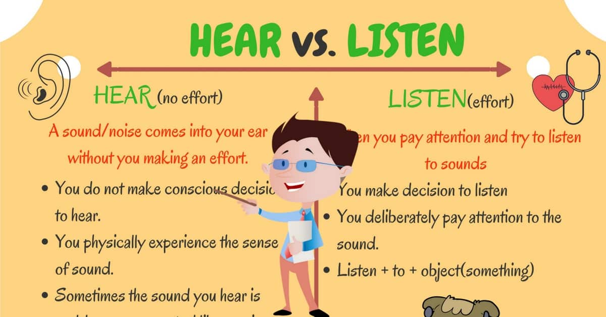HEAR and LISTEN: Difference between Hear vs Listen in English 5