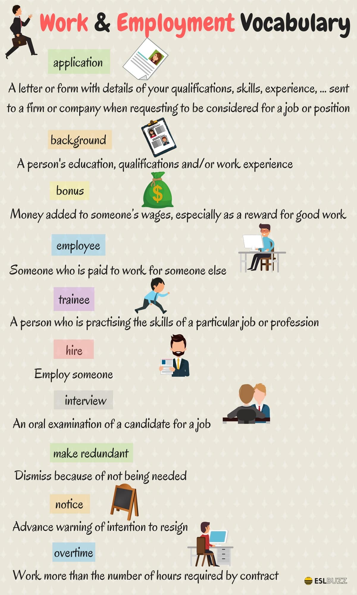 Expressions about Work and Employment