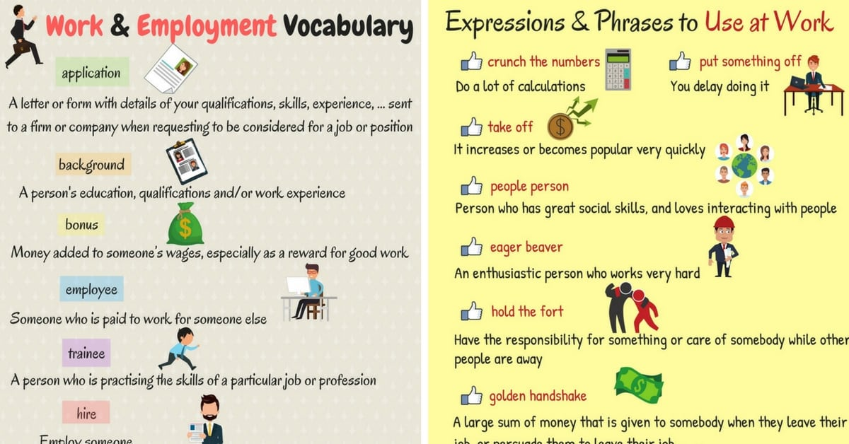 Useful English Words and Expressions about Work and Employment 6