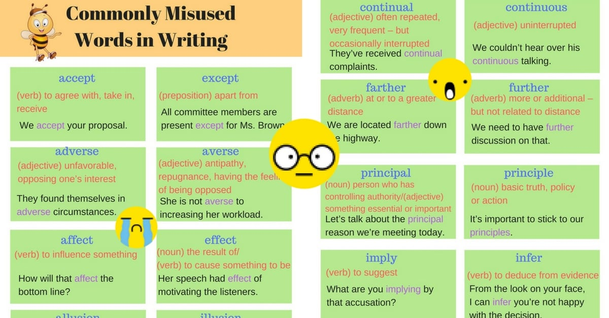 Writing Mistakes: Commonly Misused Words in English