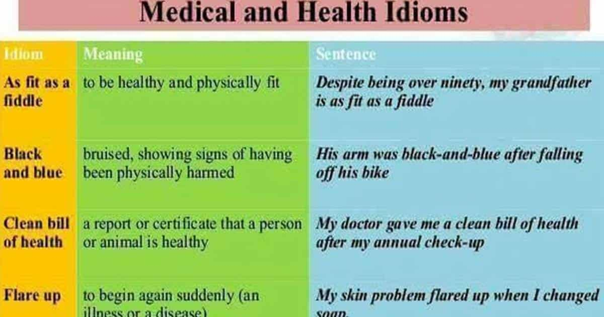 30 Useful Medical and Health Idioms in English 13