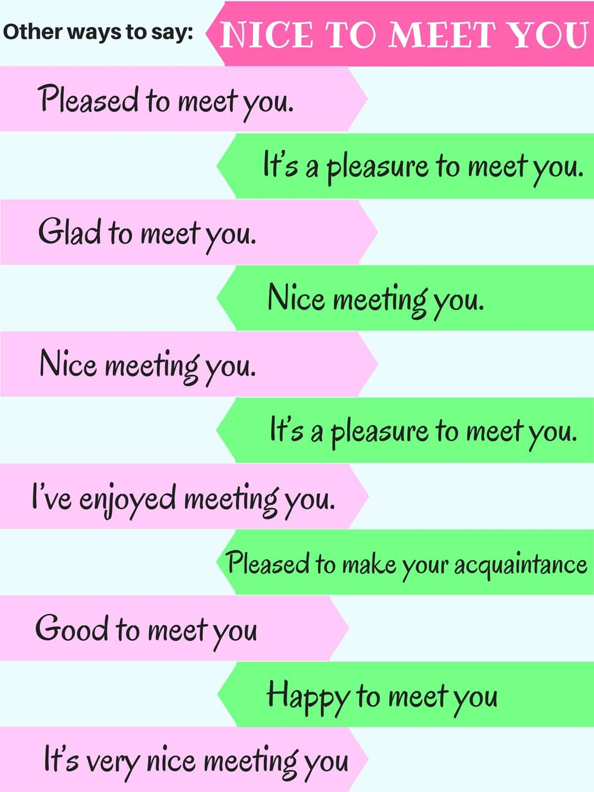 Other Ways to Say: Nice to Meet You