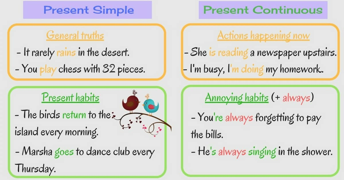 English Exercises Present Continuous and Present Simple