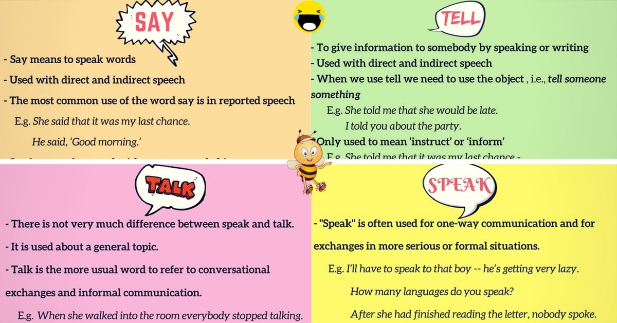 The Difference between SAY, TALK, TELL and SPEAK in English 2