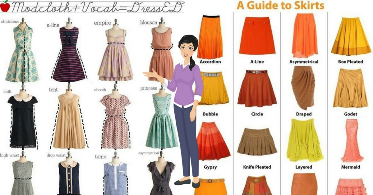 English Vocabulary: Skirt and Dress Styles 8