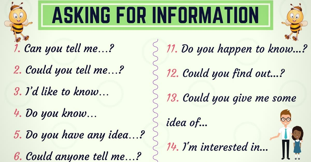 Useful English Phrases for Asking for Information 6