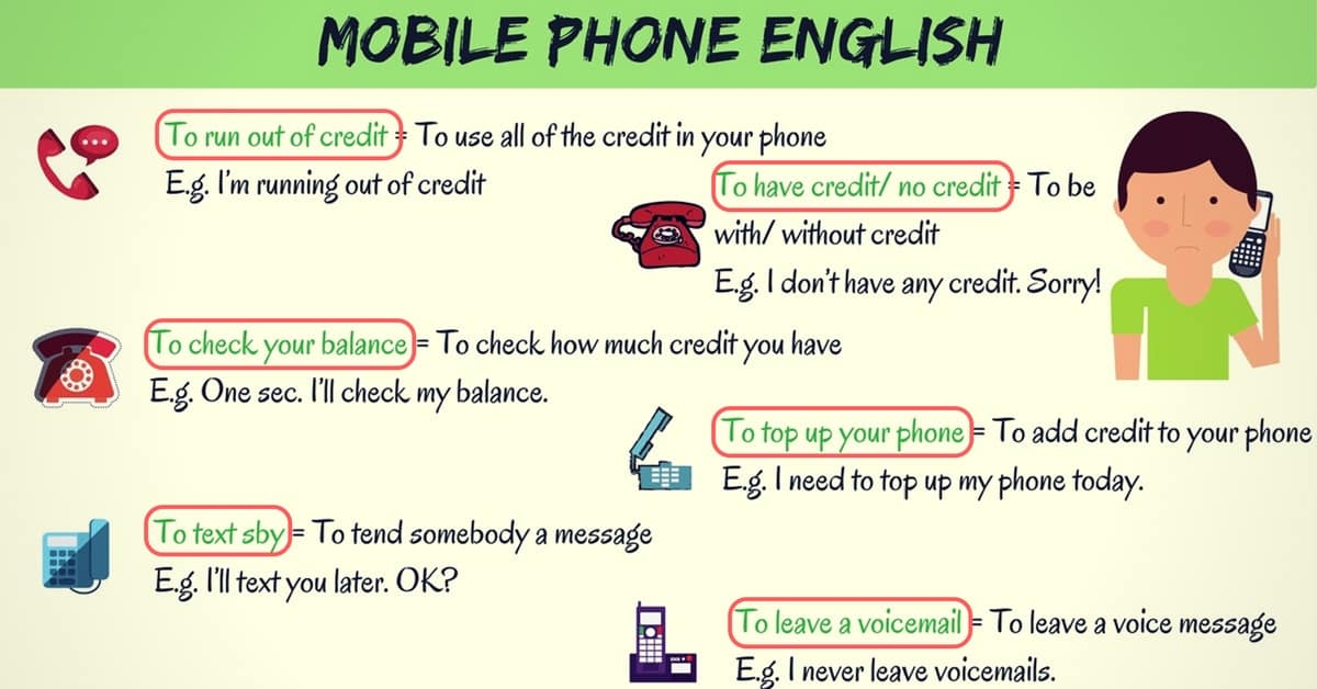 Common Telephone Vocabulary and Phrases in English 7