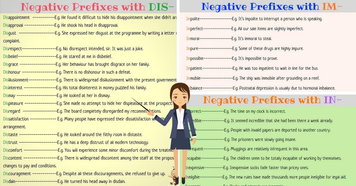 Negative Prefixes: DIS, IM, IN, IR, IL, NON, UN. 4