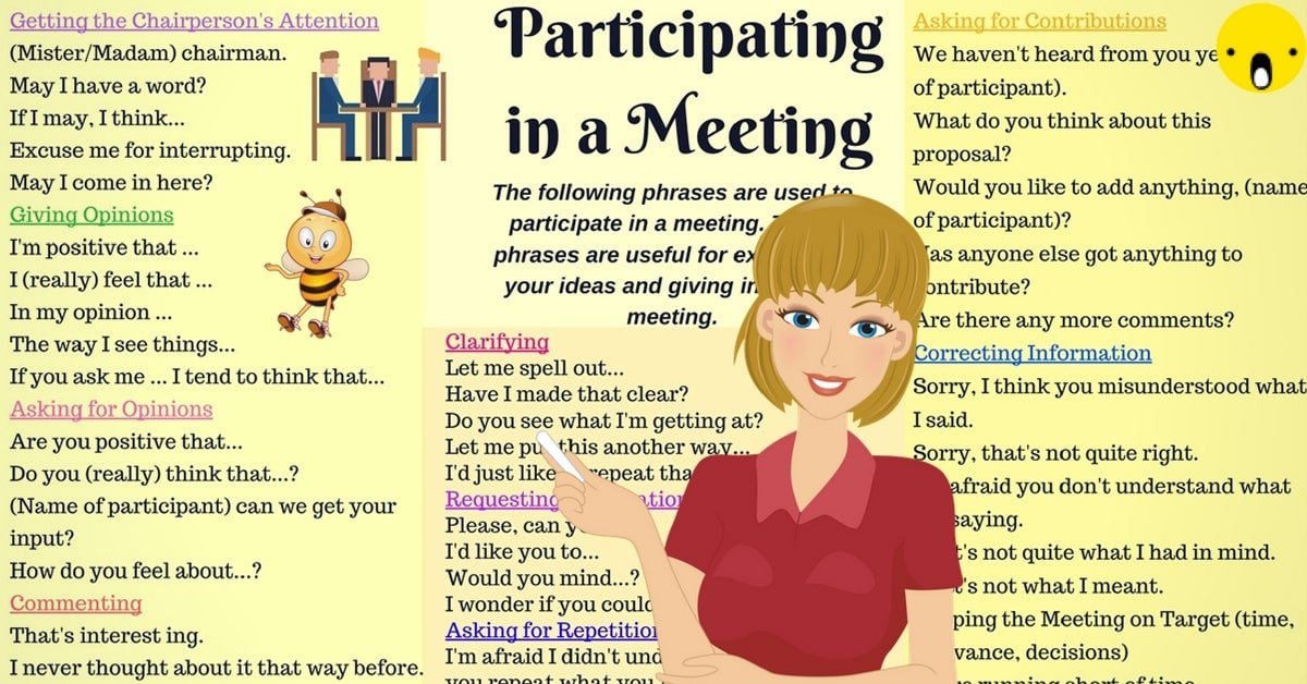 English for Business: Useful Phrases to Use During A Business Meeting 6