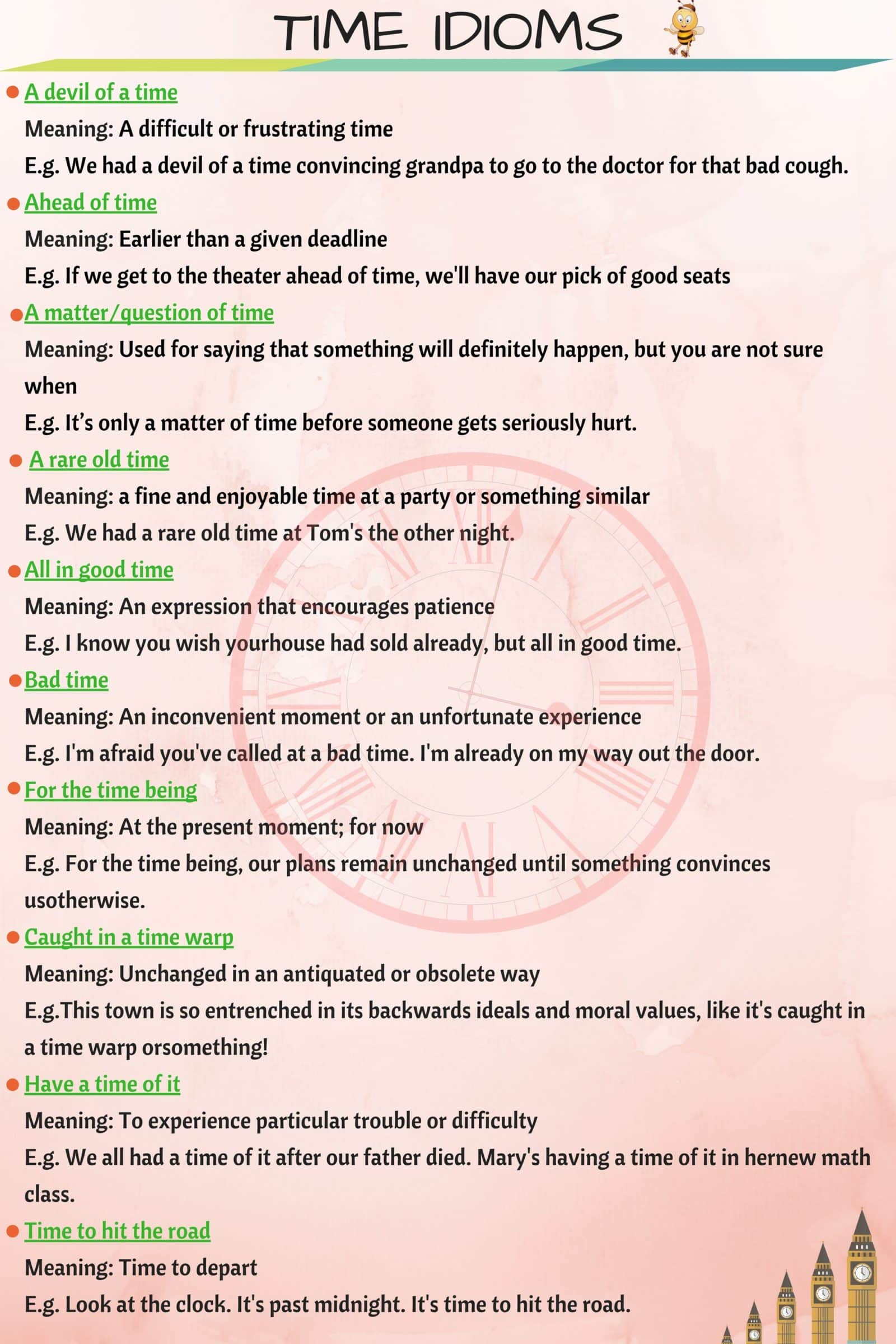 30 Common English Idioms Related to TIME