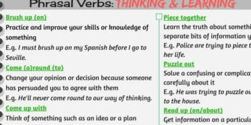 Useful Phrasal Verbs and Idioms: Thinking & Learning 13