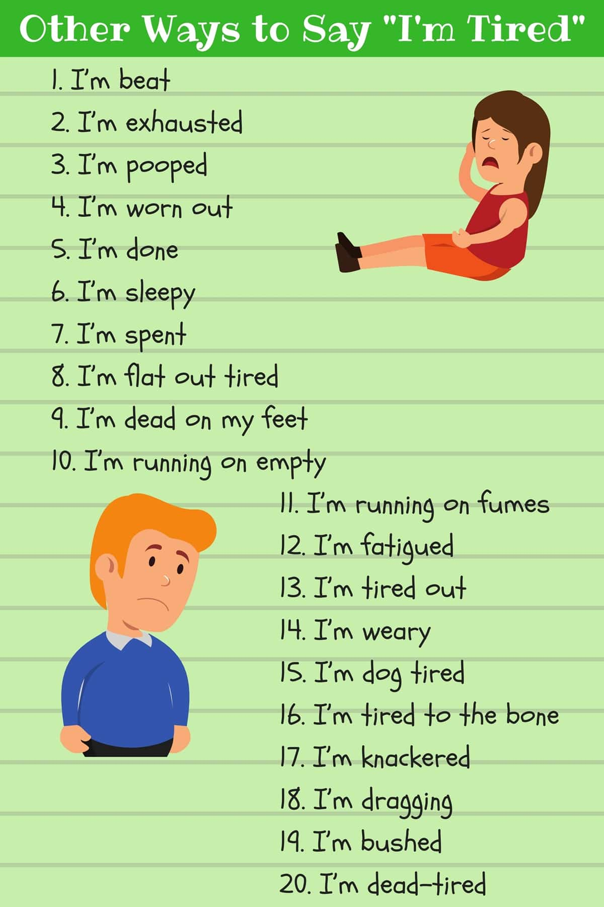 Different Ways to Say I'm Tired