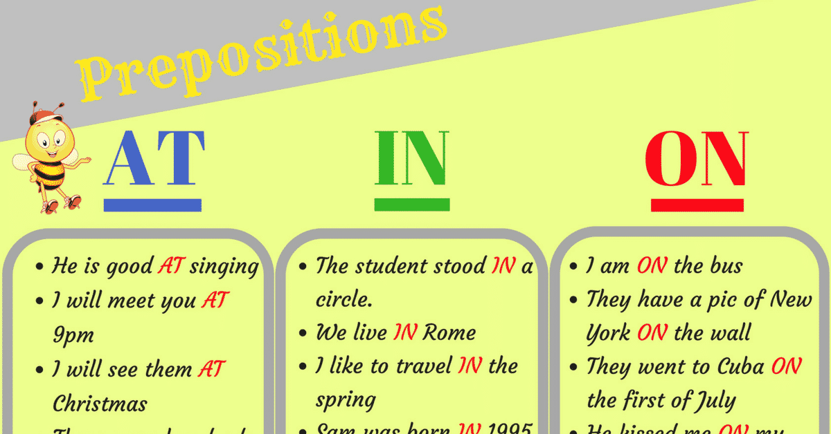 How to Use Prepositions Time and Place AT - IN - ON in English