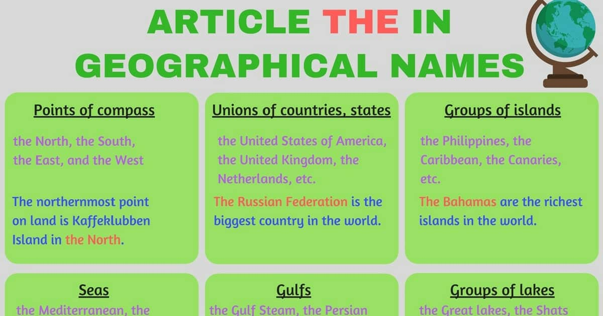 Geographical Use of the Definite Article THE in English 8