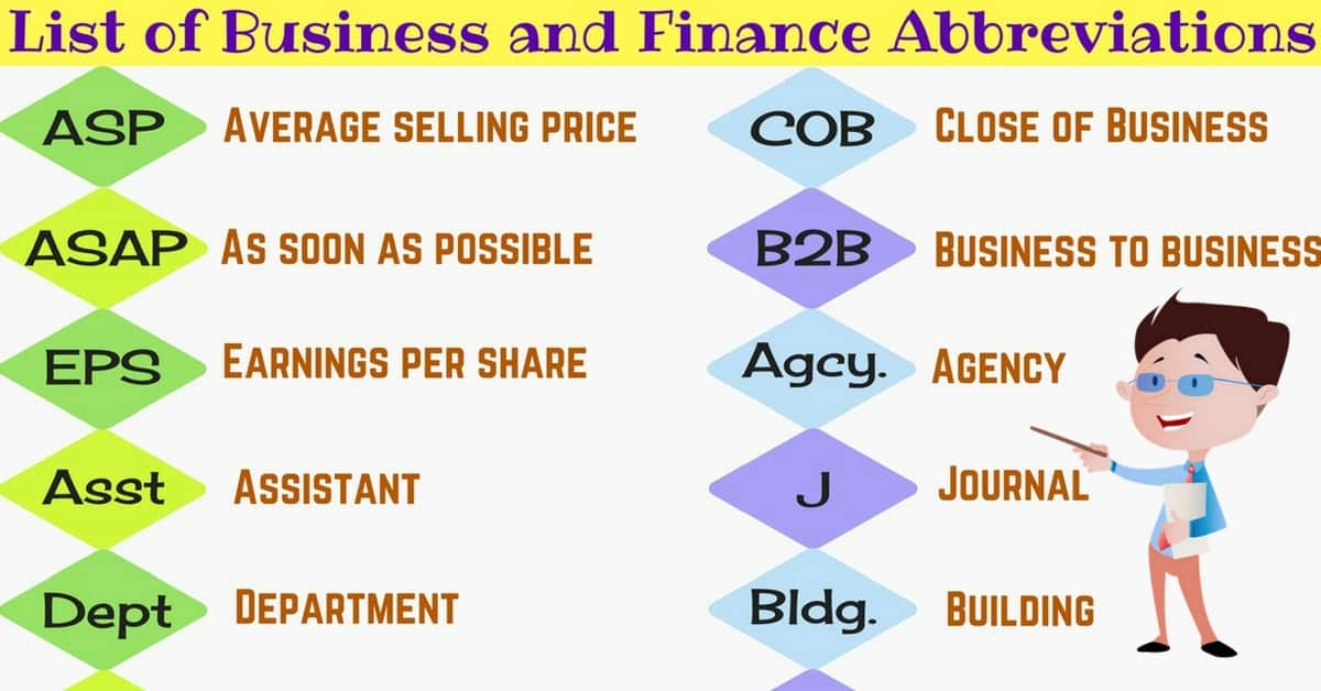 Financial Abbreviations: Business Acronyms and Finance Abbreviations in English