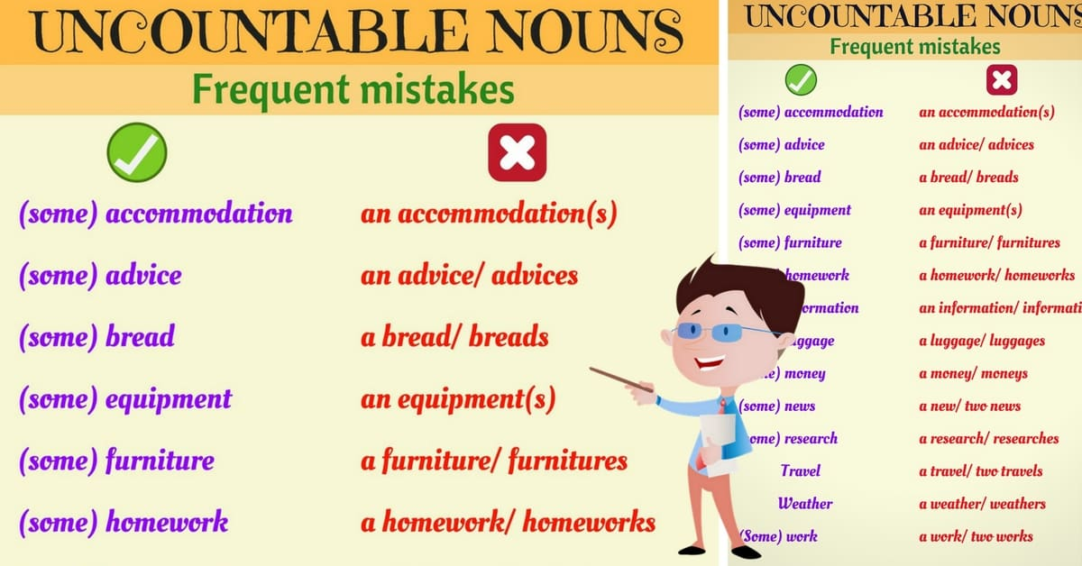 Common Grammatical Errors with Uncountable Nouns in English