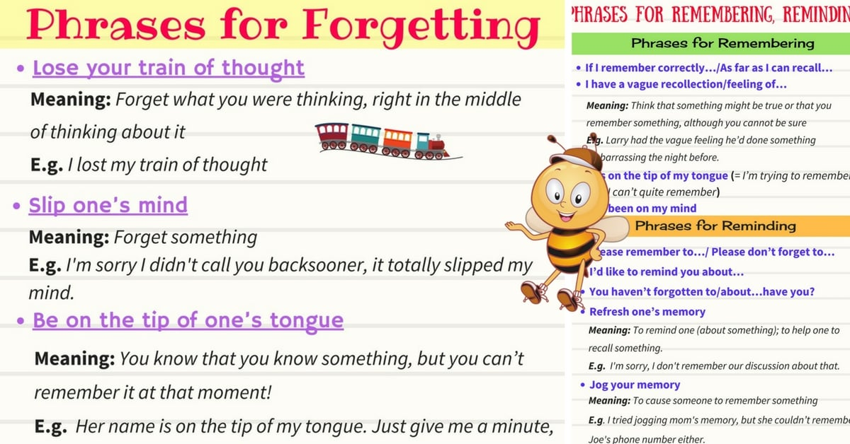Common Expressions for Forgetting & Remembering and Reminding 4