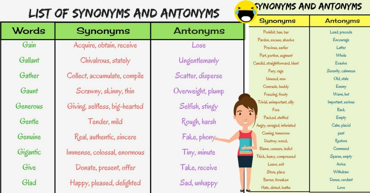 List of Synonyms and Antonyms in English You Should Know 7