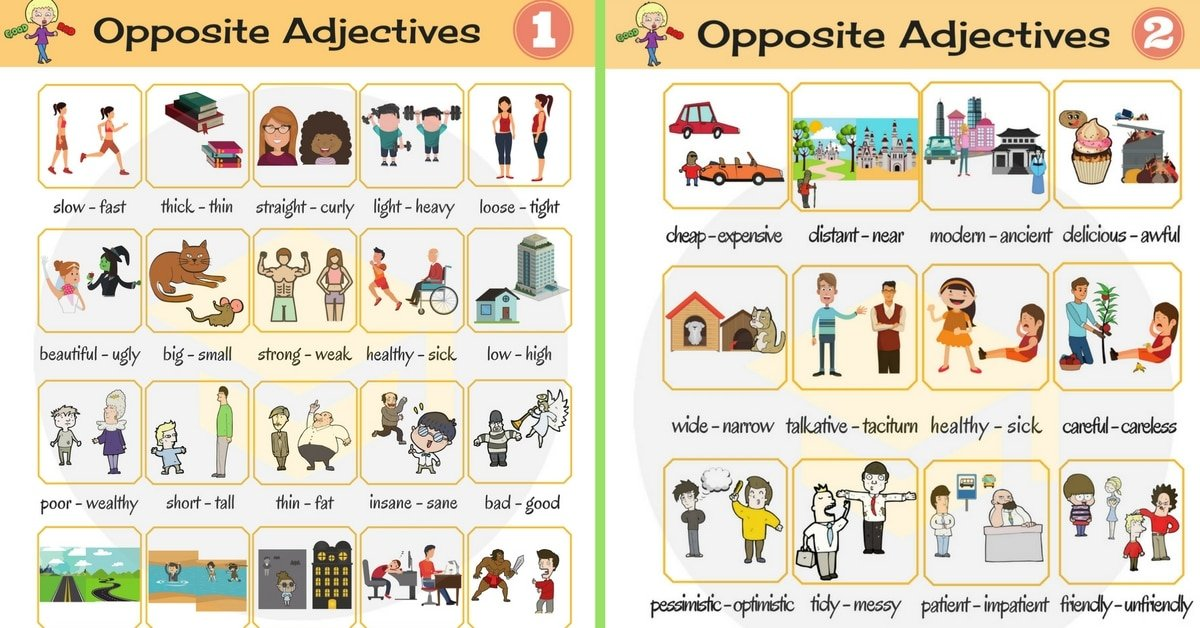 List of Opposite Adjectives in English 9