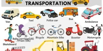 Vehicles and Transportation Vocabulary in English 9