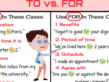 The Difference between TO vs. FOR in English 12