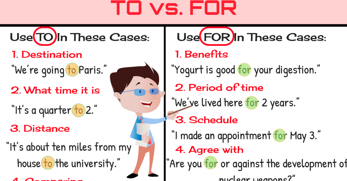 TO vs FOR: Difference between To vs For (with Useful Examples) 10