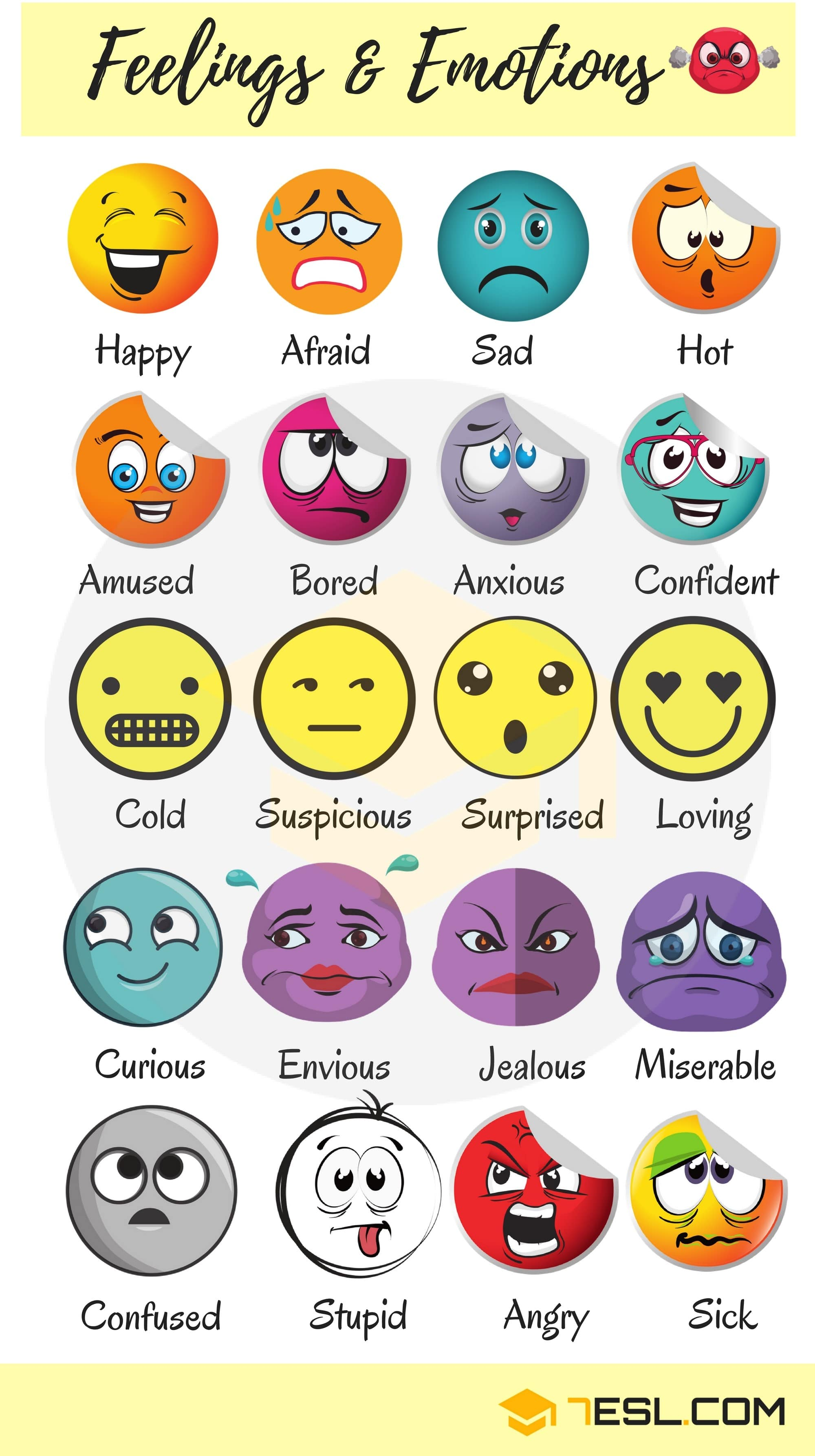 Below is a list of useful adjectives to describe feelings and emotions you should know.
