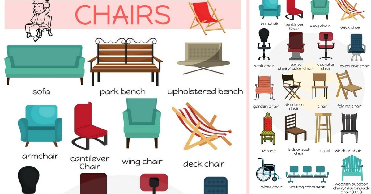 Different Types of Chairs in English 8