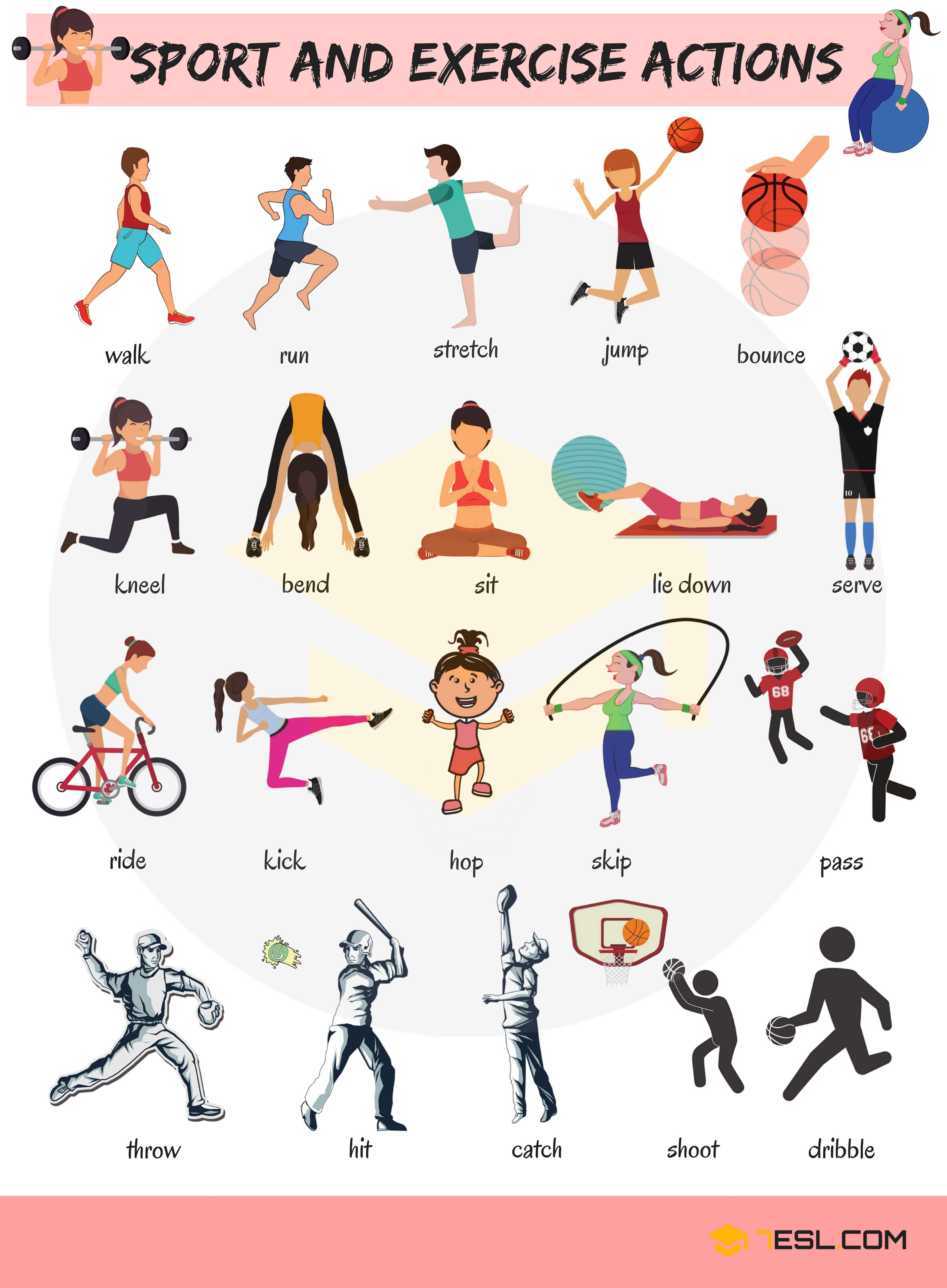 Learn Sport and Exercise Verbs in English