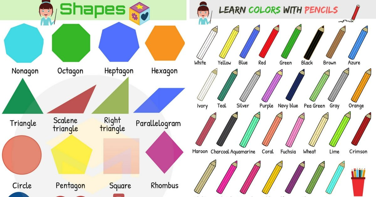 Shapes and Colors Vocabulary in English 9
