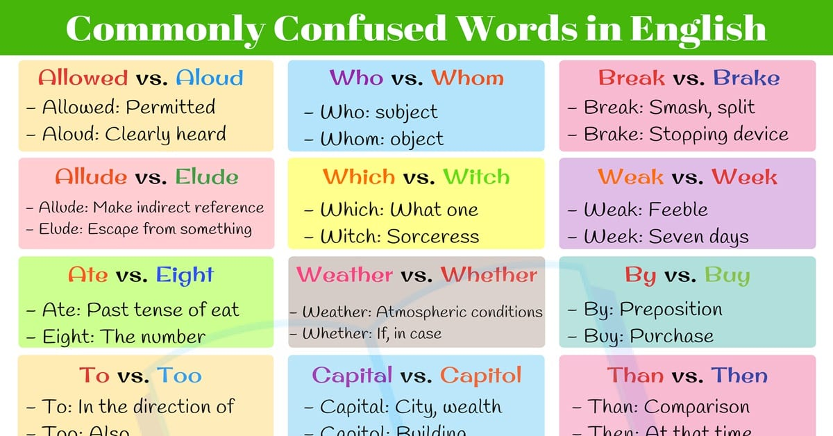 Commonly Confused Words: 7 English Word Pairs that Confuse Absolutely Everyone